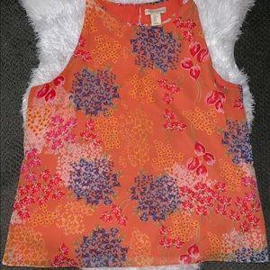 Size xlarge ladies orange floral sheer tank top